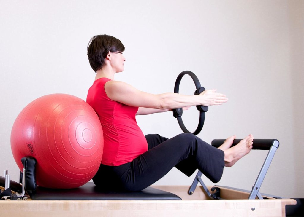 ab exercises pregnant red ball